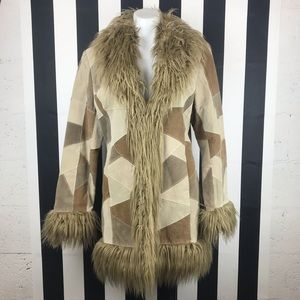 Braeton Patchwork Fur Collar Suede Leather Coat